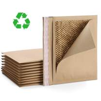 Fuxury #5 15x10.5 Inches Natural Honeycomb Padded Envelopes with patents, 100% Recycled Biodegradable Kraft Paper Fibers Cushioning Protected Padded Envelopes 10pcs