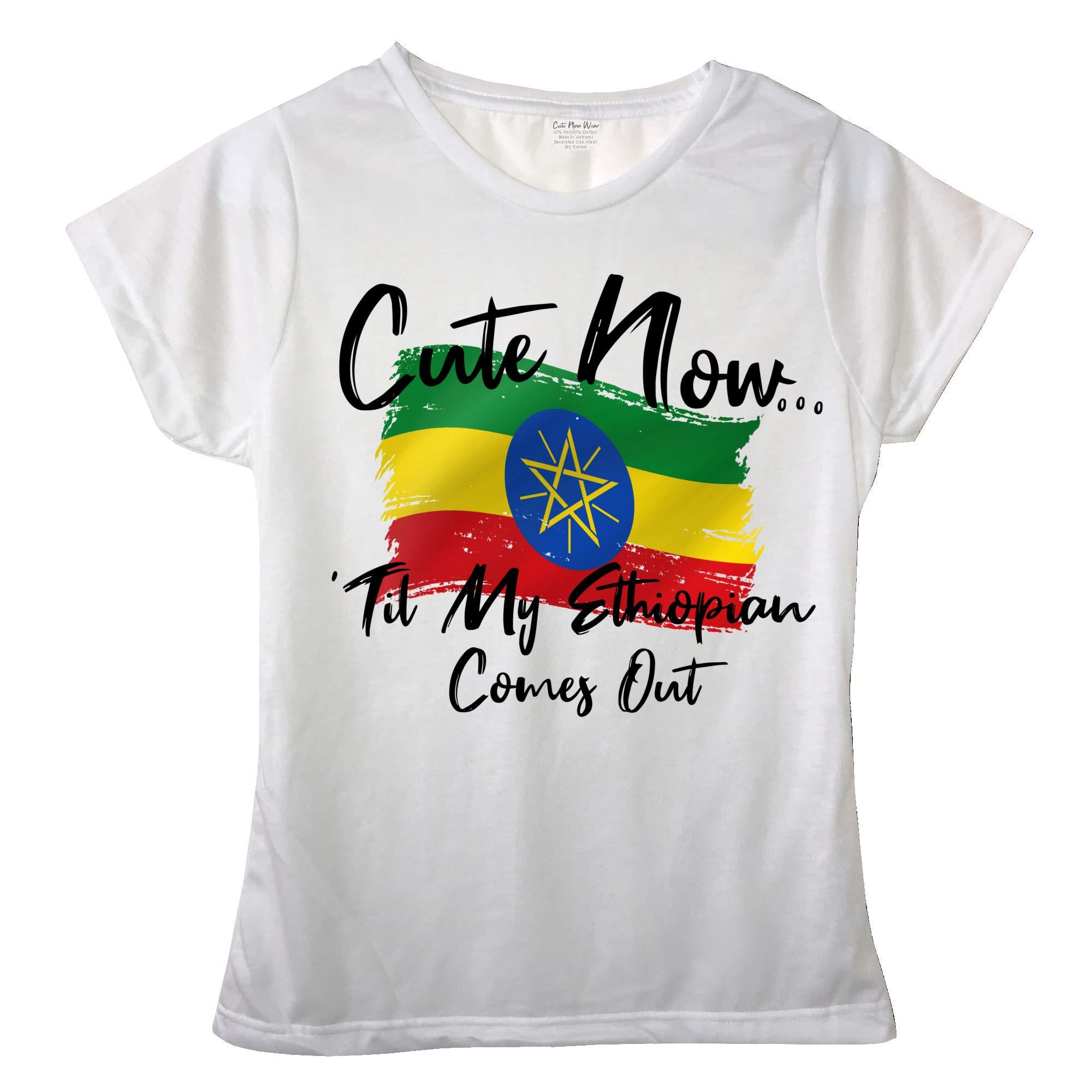 Cute Now Ladies Ethiopia T-Shirt Til My Ethiopian Comes Out Womens White Short Sleeve Shirt Flag S-XXL