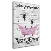 Bold And Brash Bath House Dandelion Pink Canvas Wall Art Print Inner Framed Painting Pictures Home Decor Modern Decorations for Living Room Bedroom Bathroom 12x16 Inch