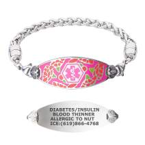 Divoti Custom Engraved Medical Alert Bracelets for Women, Stainless Steel Diabetic ID Bracelet for Mom, Mothers w/Free Engraving – Graceful Carnation Tag w/Stainless Wheat – Color/Size