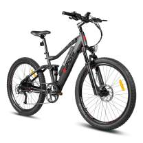 eAhora AM100 27.5inch 48V Mountain Electric Bicycle Dual Hydraulic Brakes, Air Full Suspension, 350W Urban Electric Bikes for Adults Removable Lithium Battery, E-PAS Recharge System, 9-Speed Gear
