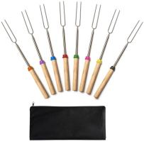 Jtshy Marshmallow Roasting Sticks,Marshmallow Sticks Kit Extending Roaster 32 Inch Set of 8 Telescoping Stainless Steel. Smores Skewers & Hot Dog Forks Kids Camping Campfire Fire Pit Accessories.
