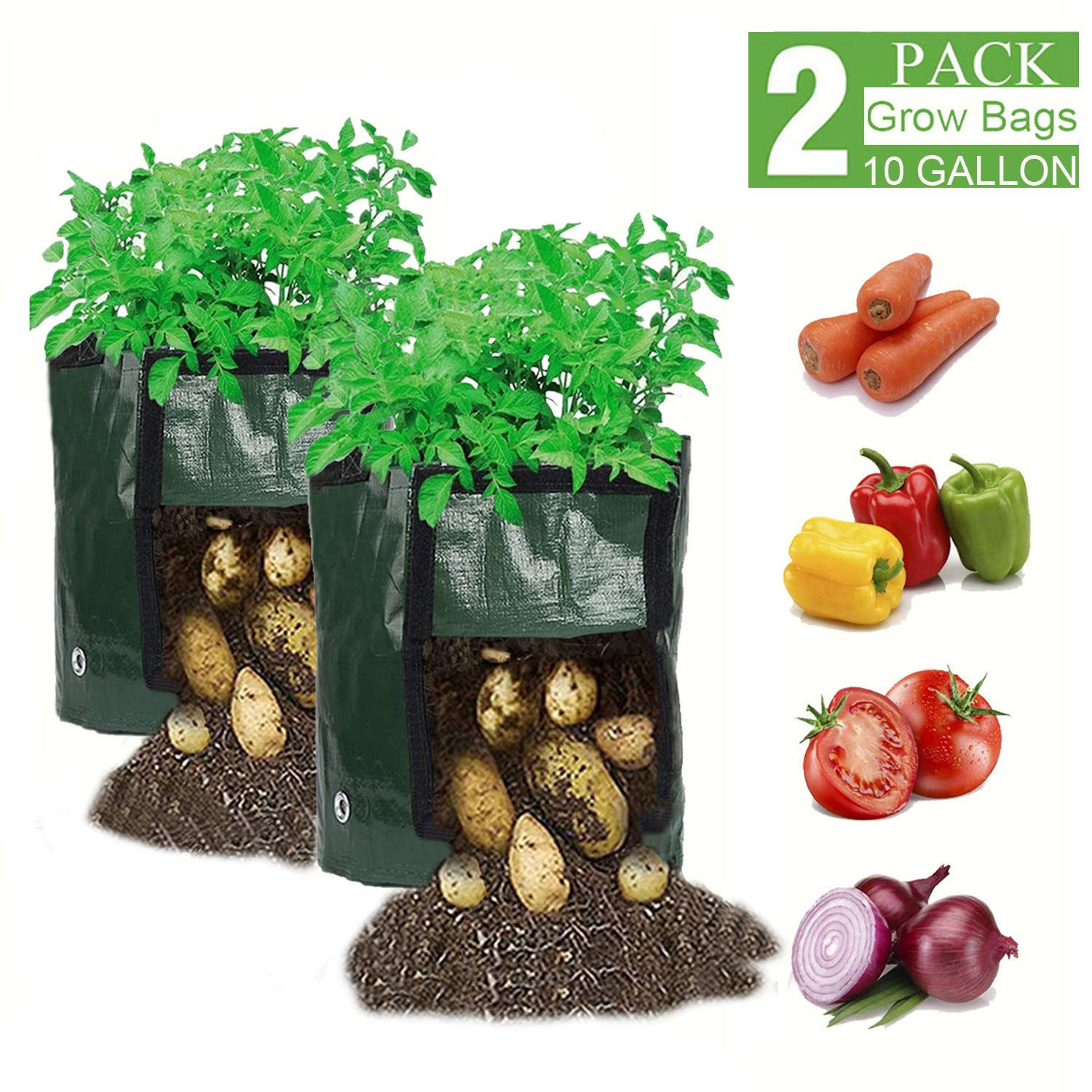 WGCC 10 Gallon Potato Grow Bags, 【2 Pack】 Plant Grow Bags with Flap and Handles Heavy Duty Thickened PE Garden Growing Bags Vegetable Planter for Potato Carrot Onion Taro Radish Peanut