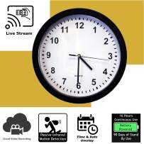 Discover IT   Wi-Fi Hidden Camera Spy Cam Home Surveillance Nanny Cam Wall Clock with Cloud Video Recording, Battery Operated