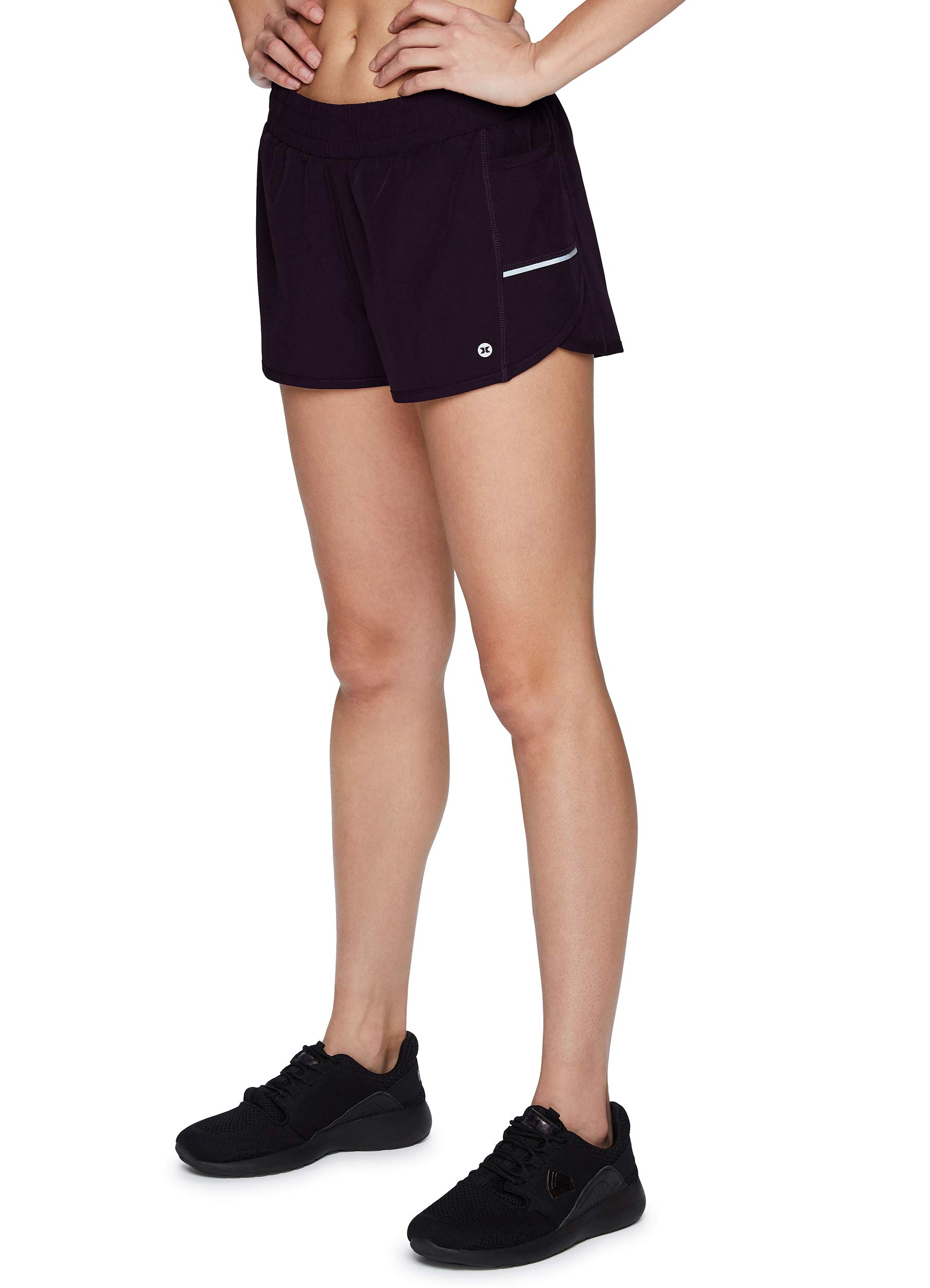 RBX Active Women's Athletic Relaxed Fit Quick Dry Stretch Woven Running Short with Inner Attached Brief and Pockets