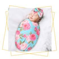 QTECLOR Newborn Receiving Blanket Headband Set - Unisex Soft Baby Swaddle Girl Boy Gifts (Flower)