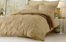 Kotton Culture Pinch Pleated 5 Piece Duvet Cover Set 100% Egyptian Cotton 600 Thread Count with Zipper & Corner Ties Pintuck Decorative Bedding (Oversized King, Beige)