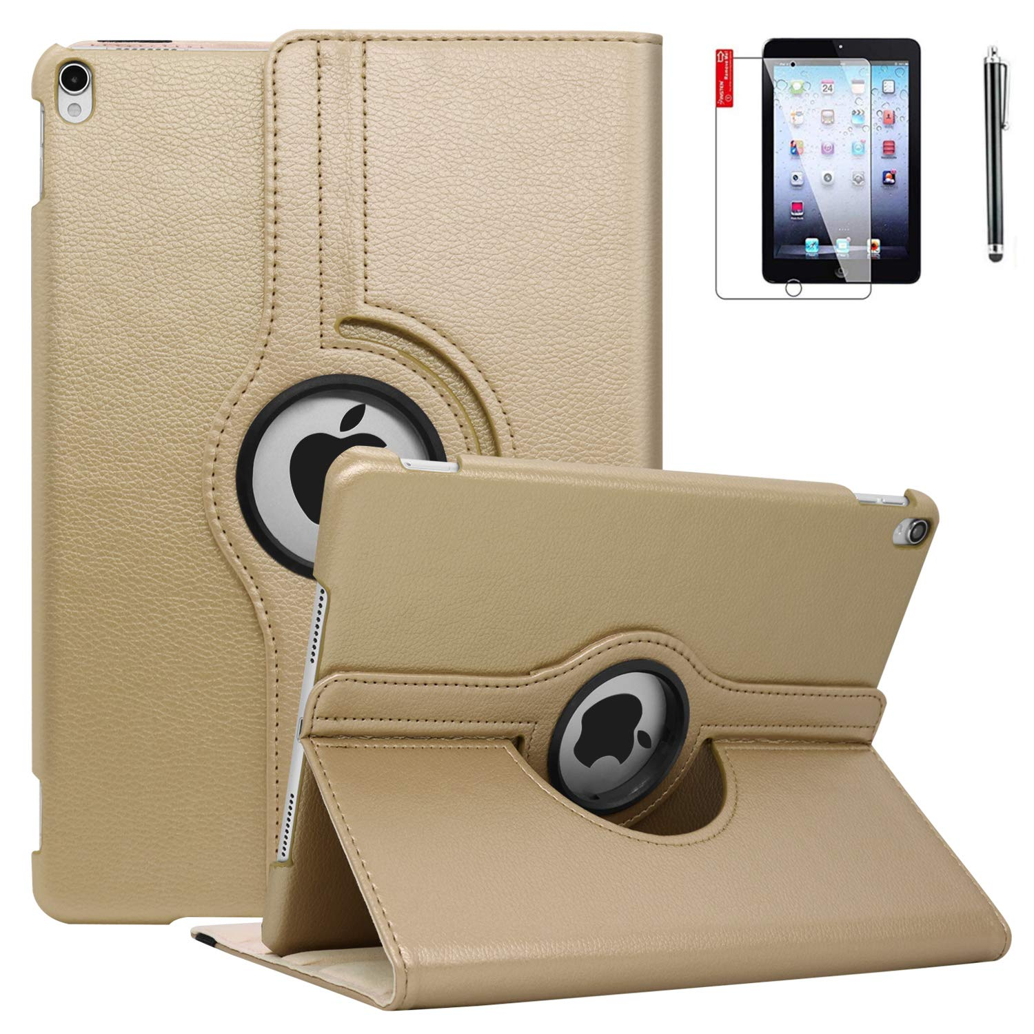 NEWQIANG iPad 6th Generation Cases with Bonus Screen Protector and Stylus - iPad 9.7 inch Air1 2018 2017 Case Cover - 360 Degree Rotating Stand, Auto Sleep Wake - A1822 A1823 (Golden)