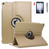 NEWQIANG iPad Air 2 Case Cover with Bonus Screen Protector - Multi-Angle Viewing 360 Degree Rotating Smart Case Cover, Auto Sleep/Wake, Leather Full Body Protective Cover for iPad Air 2 (Golden)