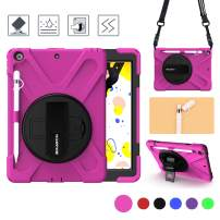 BRAECN iPad 10.2'' 7th Generation case 2019-[Pencil Holder+Pencil Cap Holder+Hand Strap+360° Swivel Kickstand +Expandable Storage Pouch+Shoulder Strap]-Shockproof Kids Cover for iPad 7 10.2'' (Pink)