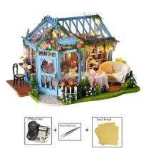 MAGQOO 3D Wooden Miniature Dollhouse with Furniture DIY Dollhouse Kit 1:24 Scale Creative Room Music Box and Dust Proof Included(Rose Garden Tea House)