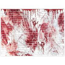 Allenjoy 8x6ft Bloody White Brick Wall Backdrop for Halloween Festival Flowing Blood Splatter Party Decor horrorible Blood Drip Handprint Scratch Portrait Photography Background Photo Studio Booth
