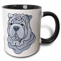 3dRose Cute and Cuddly Canine Shar Pei Mug, 11 oz, Black