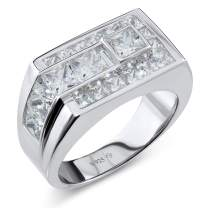 Men's Sterling Silver .925 Ring Featuring Channel-Set Square Cut Cubic Zirconia (CZ) Stones, Platinum Plated.