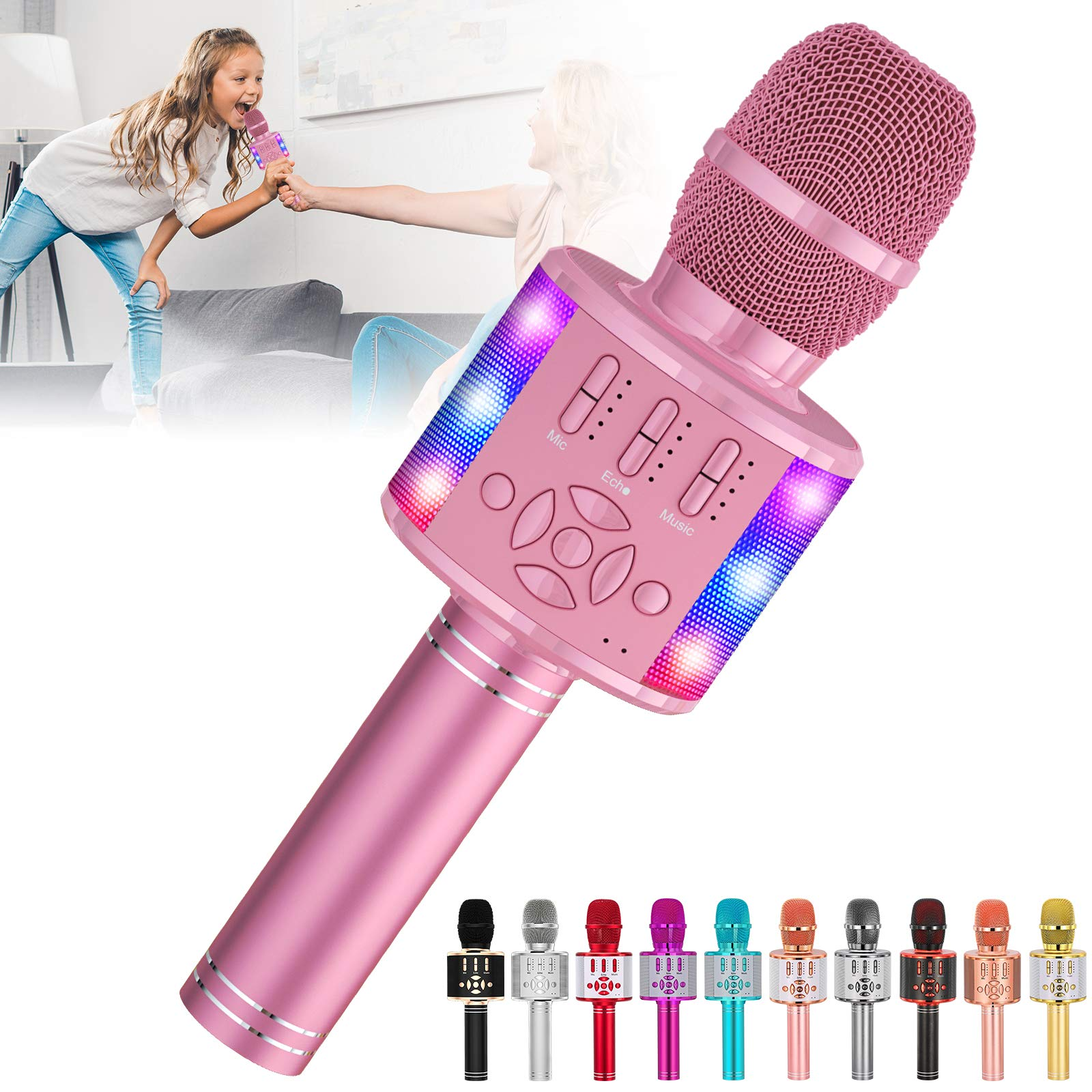 Amazmic Kids Karaoke Microphone Machine Toy Bluetooth Microphone Portable Wireless Karaoke Machine Handheld with LED Lights, Gift for Children Adults Birthday Party, Home KTV(Pink)