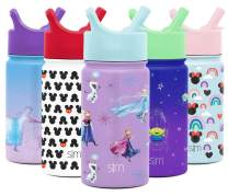 Simple Modern Disney Water Bottle for Kids Reusable Cup with Straw Sippy Lid Insulated Stainless Steel Thermos Tumbler for Toddlers Girls Boys, 14oz, Frozen Sisters (Elsa & Anna)