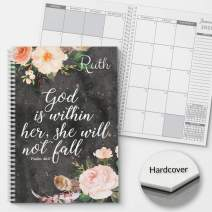 HARDCOVER She Will Not Fall Personalized Religious Monthly and Weekly Planner and Organizer, 1 full year, 2020 Dated Small Hard Cover, lay flat wire-o spiral binding