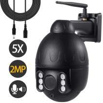 Nesuniq PTZ WiFi Camera Outdoor 1080p Camhi Wireless Camera Waterproof, 2MP HD Onvif Camera Two-Way Audio Indoor Mini Surveillance CCTV Dome IP Camera, Pan Tilt 5X Zoom Card Slot 196ft Night Vision