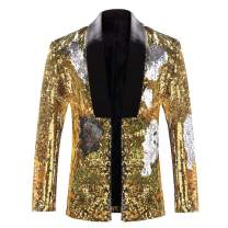Mens Reversible Sequin Suit Jacket Slim Fit Dance Tux Dress Blazer Sport Coat