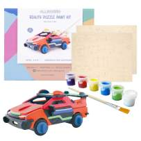 Allessimo Reality Puzzles 3D Wooden Model Paint Kit (Racing Car - 33 pc Puzzle) Toys for Kids & Adults DIY Puzzle Build 3D Puzzles Paint Kits