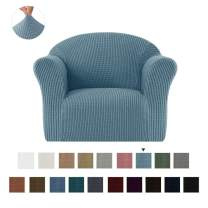 CHUN YI Jacquard HighStretch Kids Sofa Cover Child's Chair Cover Mini Size Sofa Slipcovers, 1 Seat Soft Armchair Couch Cover Settee Coat for Children/Toddlers/Baby (Smoky Blue)