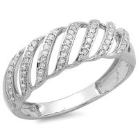 Dazzlingrock Collection 0.30 Carat (ctw) Round Diamond Ladies Cocktail Band Ring 1/3 CT, Sterling Silver