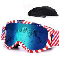 Kids Ski Goggles,Snowboard Goggles Youth Skiing Goggles Helmet Compatible Snow Goggles of Dual Lens with Anti Fog and 100% UV Protection for Kids Boys & Girls (6-13 Years)