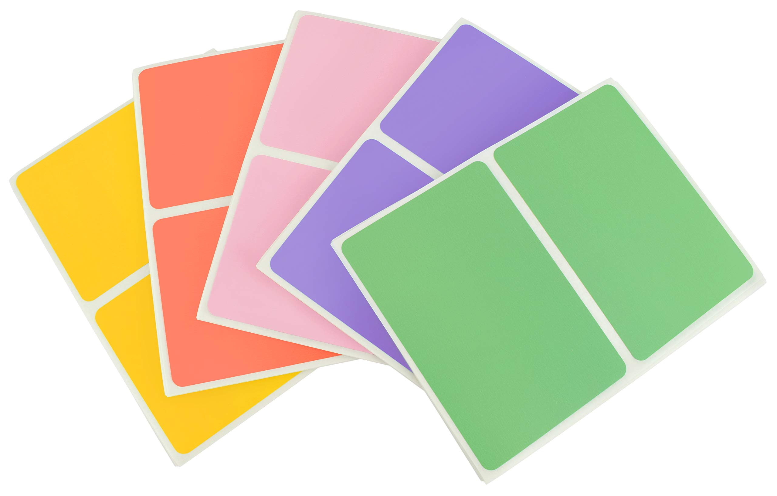 ChromaLabel 2 x 3 Inch Colored Rectangle Name Tag Stickers, 5 Assorted Color Variety Pack,150 Pack, Pastel Colors