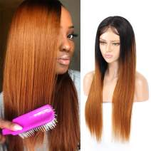"""1B Brown Ombre Human Hair Wigs for Black Women, Glueless Brazilian Straight Lace Front Wig 4x4 Lace Closure Wigs, 2 Tone #30 Muticolor Wig (1B/30, 10"""", 150%)"""