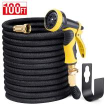 "Delxo 100FT Expandable Garden Hose Water Hose with 9-Function High-Pressure Spray Nozzle,Black Heavy Duty Flexible Hose, 3/4"" Solid Brass Fittings Leakproof Design (Black)"