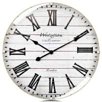 Westzytturm Wood Wall Clock Rustic Farmhouse Vintage 20 inch Luxury Large Decorative Battery Operated Non Ticking Silent White, for Living Room Mantel Bedrooms Kitchen Office