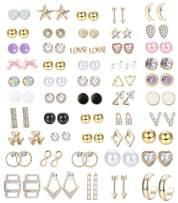 JOERICA 50 Pairs Assorted Multiple Stud Earrings for Women Girls Simple Cute Geometric Dainty Earrings