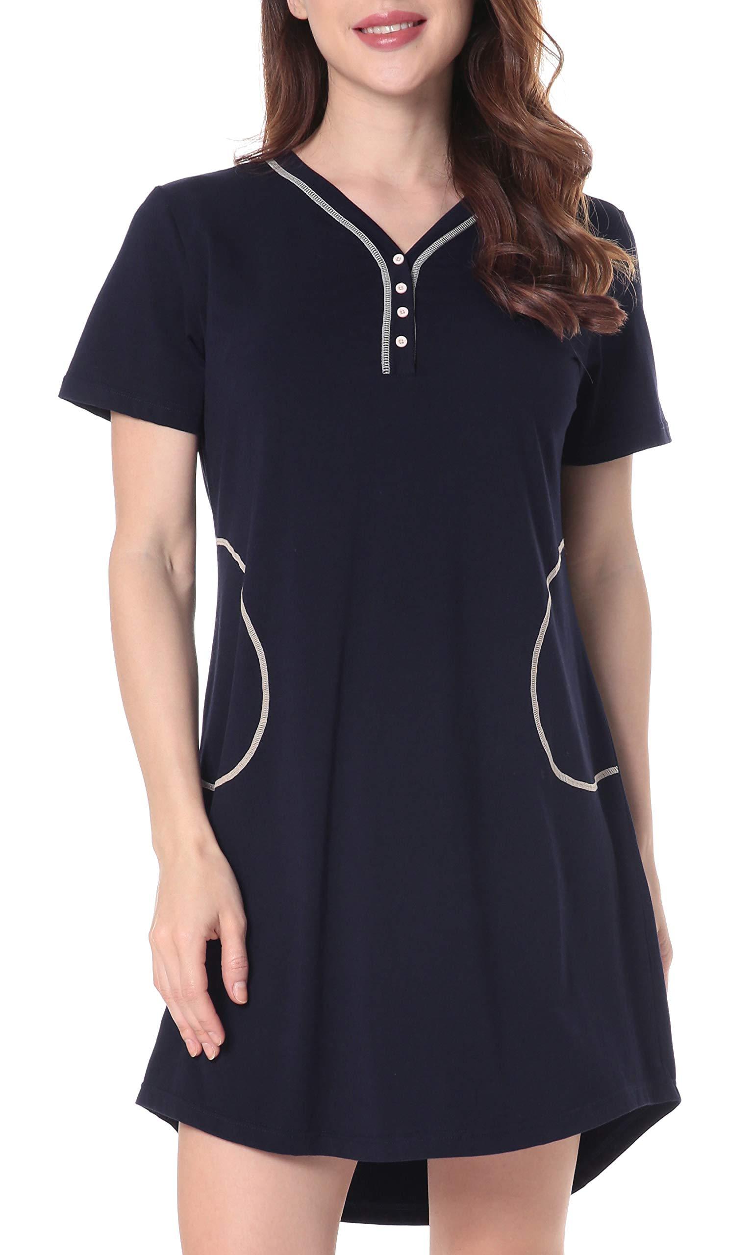 N NORA TWIPS Women's Cotton Nightgown V Neck Nightshirt Short Sleeve Sleepwear