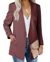 Ofenbuy Womens Casual Blazer Ruched 3/4 Sleeve Open Front Relax Fit Office Lightweight Cardigan Jacket Blazers