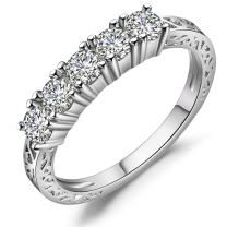 Vibrille Sterling Silver and Cubic Zirconia 5 Stone Anniversary Wedding Band Rings for Women, Size 5-11
