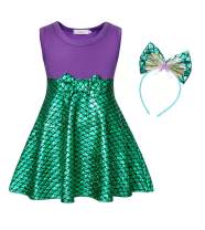 Cotrio Sleeveless Dress Up Princess Costume Girls Fancy Party Dresses Halloween Cosplay Outfits with Headband Size 8 (5-6 Years, Purple+Green, 130)
