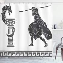"Ambesonne Retro Shower Curtain, Mythological Scene Hero and Dragon Hellenic Fantasy, Cloth Fabric Bathroom Decor Set with Hooks, 84"" Long Extra, Charcoal Grey"