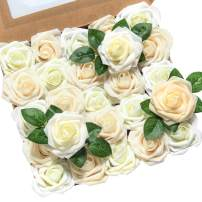 Ling's moment Artificial Flowers 25pcs Real Looking Ivory Cream Heirloom Roses w/Stem for DIY Wedding Bouquets Centerpieces Bridal Shower Party Home Decorations