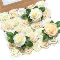 """Ling's moment Artificial Flowers 50pcs Real Looking Ivory Cream Heirloom Roses w/Stem for DIY Wedding Bouquets Centerpieces Bridal Shower Party Home DecorationsRegular 3"""""""