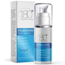 Hyaluronic Acid Serum w. Peptides + Vitamins C & E - Extra Strong - Ages 40 to 50 - Improved Tone & Elasticity - Concentrated Facial Serum for Plumper Smoother Skin - 180 Cosmetics