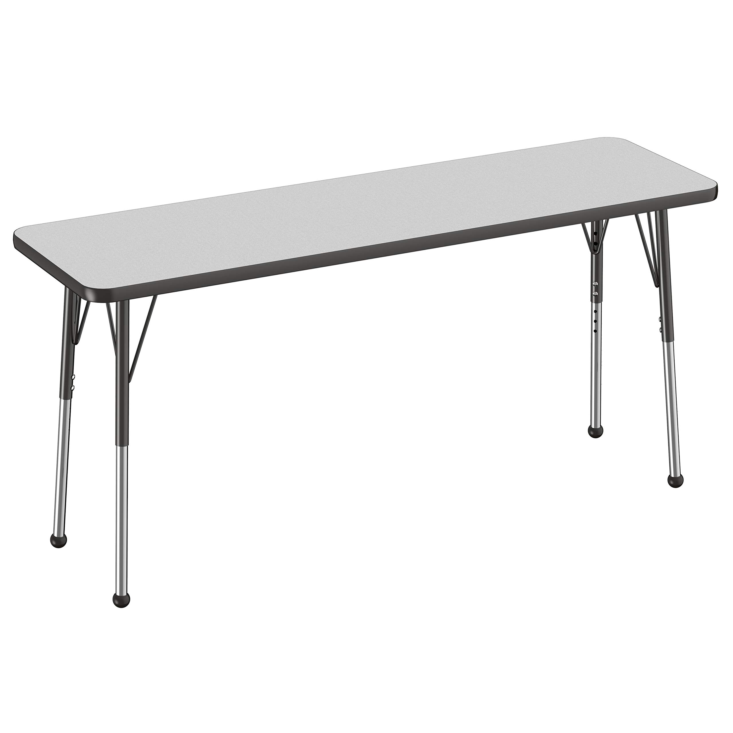 FDP Rectangle Activity School and Office Table (18 x 60 inch) Standard Legs with Ball Glides Adjustable Height 19-30 inches - Gray Top and Black Edge