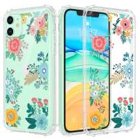 Caka Flower Clear Case for iPhone 11 Floral Clear Flower Floral Pattern Design for Girls Women Girly Cute Slim Soft TPU Transparent Shockproof Protective Case for iPhone 11 (Blue Yellow)
