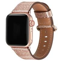 WFEAGL Compatible iWatch Band 42mm 44mm,Top Grain Leather Band with RoseGold Adapter(The Same as Series 5/4/3 with Gold Aluminum Case in Color)for iWatch Series 5 /4/3/2/1(RoseGold+RoseGold Adapter)