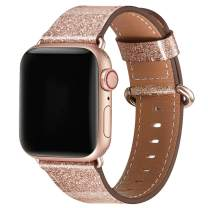 WFEAGL Compatible iWatch Band 38mm 40mm,Top Grain Leather Band with Rosegold Adapter(The Same as Series 5/4/3 with Gold Aluminum Case in Color) for iWatch Series 5/4/3/2/1(Rosegold+Rosegold Adapter)