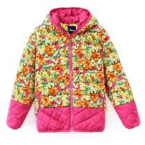 Hiheart Little Girls Hooded Down Winter Coat Floral Puffer Jacket