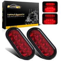 """Partsam 2Pcs 6"""" Inch Oval Red Led Trailer Tail Lights 10 Diodes Hardwired Sealed Stop Turn Tail Brake Lights Truck Trailer Waterproof Replacement for Jeep Wrangler Rear Led Third 3rd Brake Lights"""
