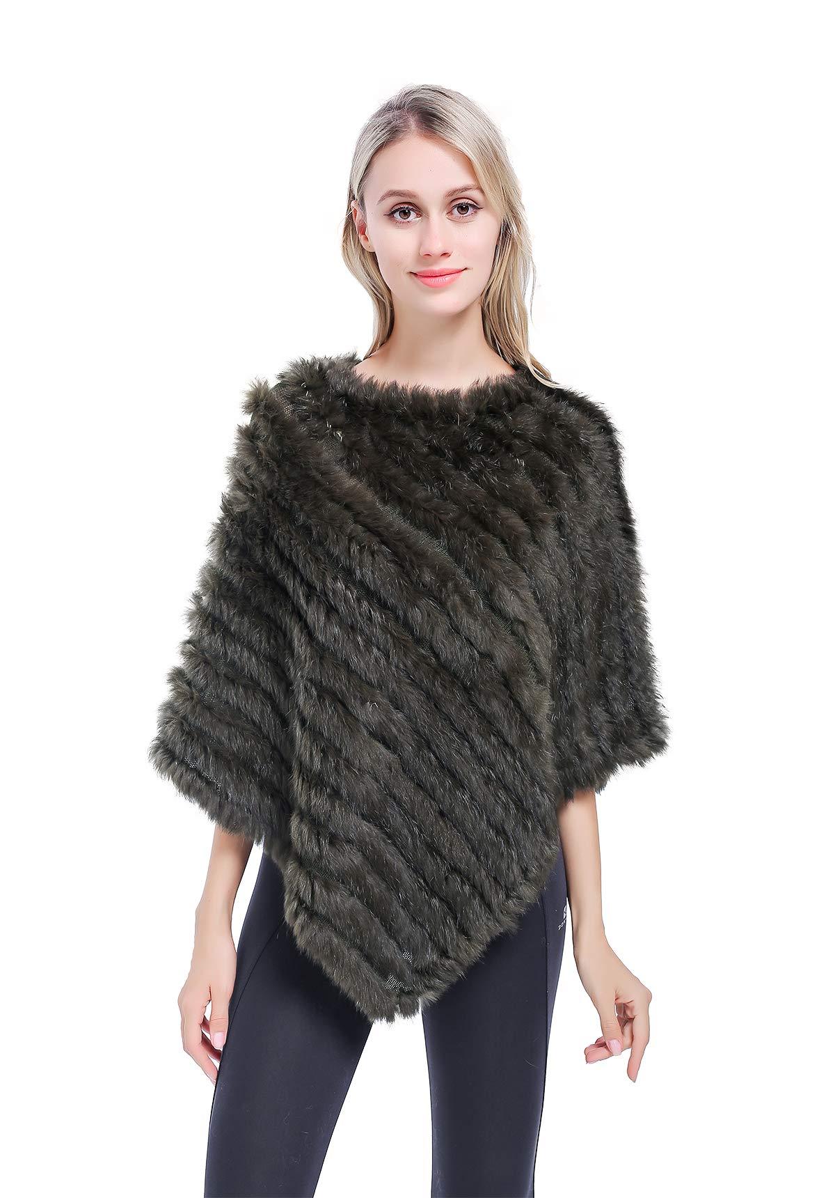 MEEFUR Real Rabbit Fur Shawls Women's Warm Knitted Genuine Fur Ponchos Jacket Blanket Cape for Winter
