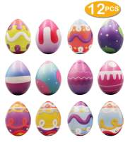 heytech 12 PCS Easter Eggs Hunt Squishies Toys Slow Rising 2.25 Inches Bright Colorful Surprise Eggs Party Favor Gifts For Easter
