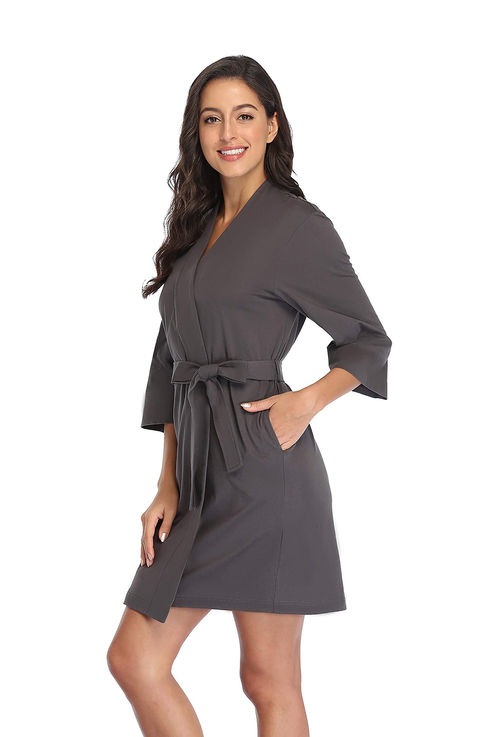 Women's Cotton Short Kimono Robes Knit Bathrobe Nightgown Soft Wrap Sleepwear Loungewear