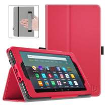 Dadanism Folio Case Fits All-New Amazon Kindle Fire 7 Tablet (9th Generation, 2019 Release only), Premium PU Leather Lightweight Slim Shockproof Smart Stand Cover with Auto Wake/Sleep - Red